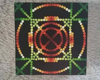 Mandala Dot Art Original Painting Cradled Wood Panel Pointilism Dotilism Hippy Psychedelic Rave Geometric