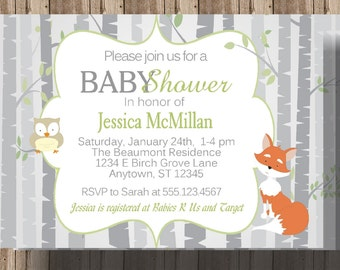 FOX and OWL Baby Shower Invitation with Birch Tree/Woodland Baby Shower Invitation/Forest Animals Baby Shower Invitation/Gray Gender Neutral