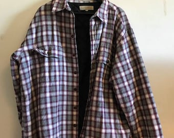 Plaid Jacket XL/90s/white/burgundy/button