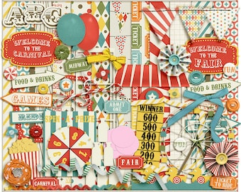 Digital Scrapbooking Page Kit for fair, carnival, festival - Midway Magic Digital Kit - INSTANT DOWNLOAD