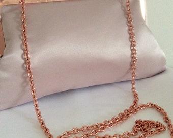 Rose Gold Satin bridal clutch, purse, bridesmaid clutch.