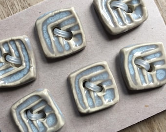 Small Square Buttons - Unique Buttons Handmade Ceramic Buttons - Square Ceramic Buttons - Gray Opal Bead Focal Button Lot - Fabric Finishes