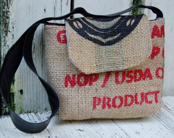 Recycled Burlap Coffee bag purse. Coffee handbag. Coffee shoulder bag. Burlap purse. Burlap handbag