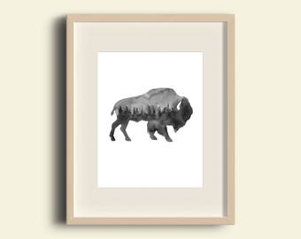 buffalo, wall art, buffalo watercolor, print buffalo, art bison, watercolor woodland, watercolor, nursery wall art, buffalo print, outdoors