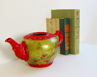 Decorative Tea Pot, Japanese Decor, Asian Decor, Golden Green,  Oriental Decor, Vintage Planter, Cherry Blossoms