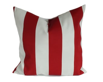 Outdoor cushion cover, 20x20, Patio cushions, Red outdoor pillow, Outdoor throw pillow, Outdoor decorative pillow, Stripe pillow