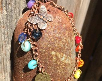 Rainbow Jewelry,Rainbows,Charm Bracelet,Handmade Rainbow Glass Charms,Live with No Regrets ,Butterfly Charm,Love Charm,California Artist