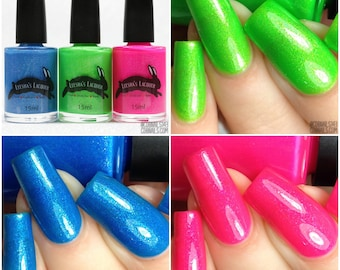Full Cosmic Neon Collection, Neon Green, Neon Blue, Neon Pin Indie Matte Nail Polish - 5-Free, Cruelty Free and Vegan Indie Nail Polish