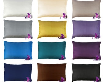 CHOOSE YOUR COLOR: 100% Pure Mulberry Silk Pillowcase 19 momme Standard 50x66cm (20x26in) Hair Care Beauty Hypoallergenic with Hidden Zipper