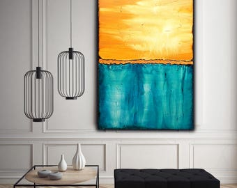 Blue Orange Abstract Painting on Canvas , Textured Art  , 43x27 inch   !