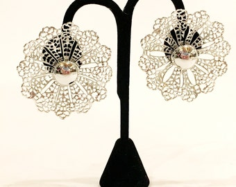 Vintage 60s Sarah Coventry Silver Fanfare Earrings