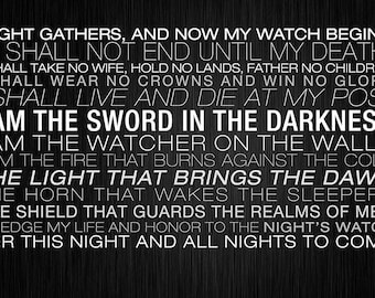 Game of Thrones The Night's Watch Oath Custom Playmat