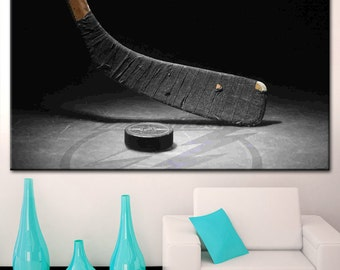 Ice hockey wall art, Hockey Print, Boys Room Decor, Hockey Art, Hockey Photo Print, Vintage Hockey Stick, Hockey Puck, Winter Sports Canvas