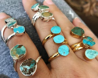 Natural Turquoise Rings, Turquoise jewelry, December birthstone jewelry, boho jewelry