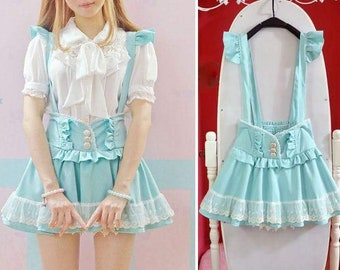 Sweet Lolita Pastel Kei Blue Suspender Skirt