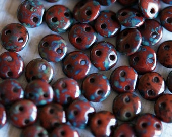 6mm CzechMates Lentil Beads - Opaque Umber Picasso - Picasso Czech Glass Beads - Two Hole Lentil Beads - Bead Soup Beads