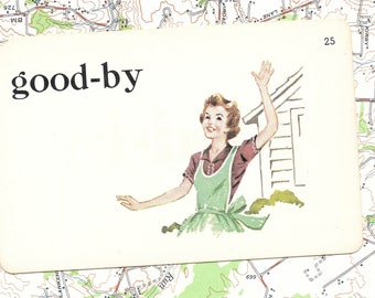 Good-by/woman waving/travel/off to college/goodbye/ Vintage Vocabulary Flashcard