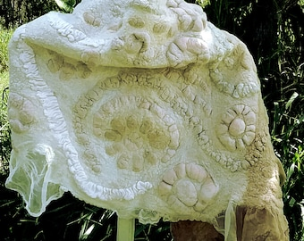 Beige and Cream Nuno Felted Shawl - Highly Textured - Eco Friendly One of a Kind Fiber Art