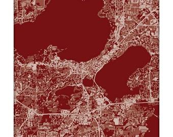 Madison Cityscape / Wisconsin Graphic City Map Art Print Grad Gift / 8x10 Dorm Decor / Choose your color