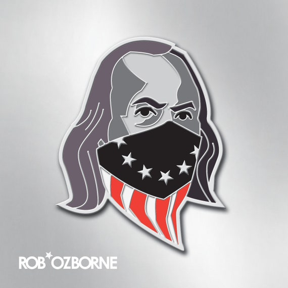 BEN FRANKLIN Enamel Pin - American USA Freedom Pin - Collectible Art Pin by Rob Ozborne