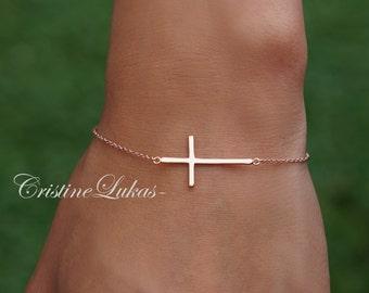 Sideways Cross Bracelet - 10K, 14K, 18K Solid Gold or Silver - Celebrity Style Horizontal Cross Bracelet in Yellow, Rose or White Gold