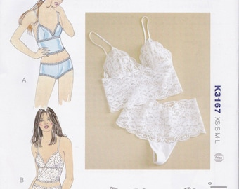 K3167 Kwik Sew Camisole and Panties Sewing Pattern Sizes XS-S-M-L  Kerstin Martensson Boy Cut/Thong Panties Two Styles Each Stretch Knits