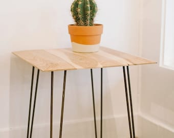 Pecan Wood End Table with Hairpin Legs