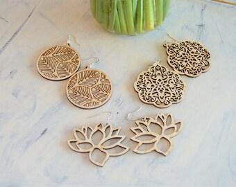 Wood Earrings, Boho Wood Earrings, Boho Earrings, Filigree Earrings, Filigree Wood Earrings, Natural Wood Earrings, Lotus Earrings