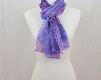 Hand Painted Chiffon Silk Scarf, Purple and Pink, Whimsical, Fairy, Abstract Scarf, Watercolor Scarf, OOAK, Hippie, Festival Clothing