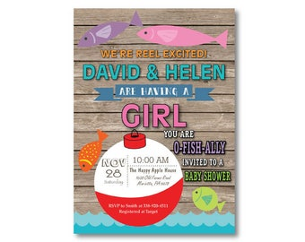 Fishing Baby Shower Invitation. Fishing Invitation. Girl Fish Baby Shower  Invite. Fisherman. O Fish Ally. Printable Digital.