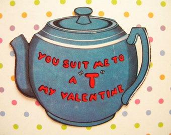 Vintage Valentines Day Card Tea Pot Shaped Card Signed
