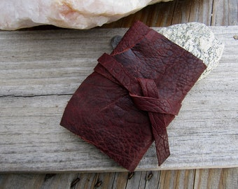 Burgundy Buffalo Leather {Passport for 6} Travelers Notebook Journal, Leather Wrap Journal, Midori Style 2