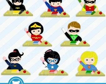 50% OFF SALE Teacher Clipart / Classroom Hero / Classroom Clipart / Kids Clipart / Teacher Cliparts / Superhero / Item No:  Classroom-Hero-1