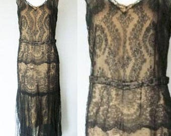 1920s Chantilly Lace Flappers Dress With Train-  Evening Dress, Gatsby Style