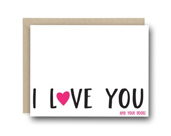 Naughty Valentine's Day Card For Her - I Love You And Your Boobs - I Love You Card, Card for Girlfriend, Card for Her, Birthday Card