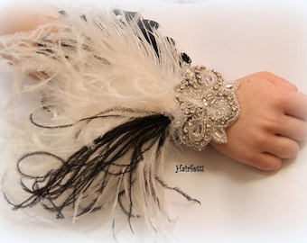 1920s feather corsage, Great Gatsby corsage, 1920s corsage, prom corsage, wrist corsage, 1920s wedding, corsages for prom, arm corsage