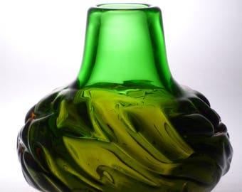 Czech art glass vase Oliva Skrdlovice RARE