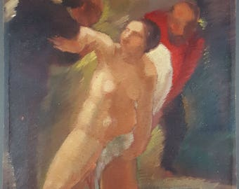 "Antique Painting ""Bather"" Oil On Panel Original Old Vintage"