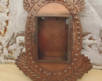 "Antique Look Ornate Copper Tone Color Victorian Designs Mini Shadowbox Style Fancy Tin Metal Photo Picture Frame, Mexico, 7"" x 5.5"""