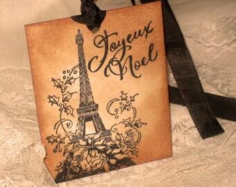 Vintage Christmas Hand Stamped Joyeux Noel Eiffel Tower Paris Gift Tags Set of 6 Hang Tags