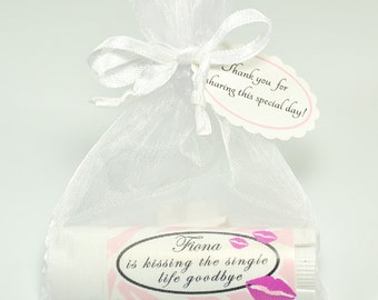 10 Bachelorette Favors, Bridal Shower, Flavored Lip balm