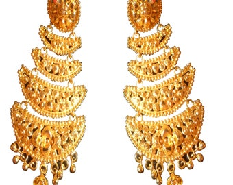 Indian Traditional Earring 22K Gold Plated Fancy 5 Steps Jhumka Jhumki Set