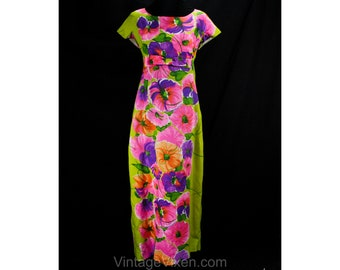 Size 12 Hawaiian Lounge Dress - 1960s Chartreuse Pink Orange Floral - 60s Tiki Lounge Hawaii Empire Gown - Raised Waist - Bust 37.5 - 49978