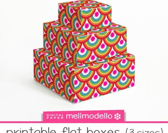 "Small printable flat boxes ""Rainbow"", 3 sizes, download,"