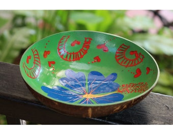 Coconut Bowl Tropical Hand Painted Decorative Bowl Multipurpose Wooden Bowl Handmade Coconut Shell Bowl (PC 15)