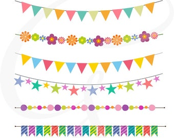 """Bunting Clipart, Bunting vector, """"BUNTING BANNER Clipart"""" Banner Flag Clipart, Banner Clipart, Party Bunting, Party Banners, Holiday Bunting"""
