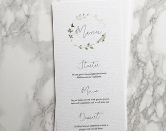 Winter Wedding Menu // watercolour design // hand painted // botanical stationery // holly and mistletoe