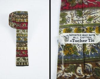 Vintage 60s Batik Necktie Tucker Tie Skinny Flat End Tie Square Bottom Wax Batik