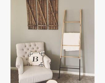 Rustic Two-Tone Tapered 5 Rung Blanket Ladder, Towel Ladder, Decorative Ladder