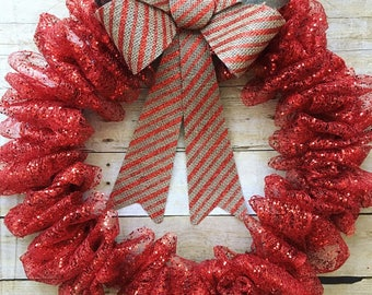 Merry and bright red Christmas wreath